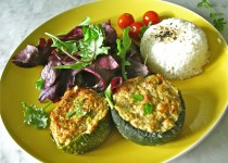 Zucchini Stuffed with Ham and Parmesan Cheese