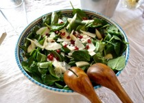 Baby-Spinach Salad with Pear, Pomegranate and Parmigiano Cheese